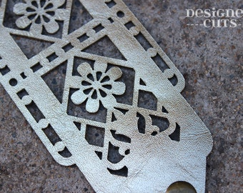 Laser cut leather cuff bracelet - Gold filigree design