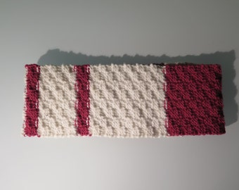 Pink and White Knit Cowl