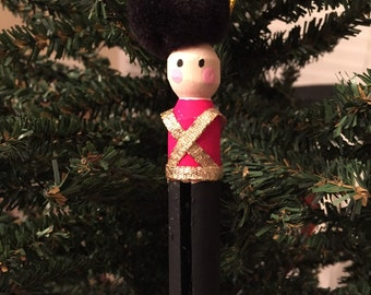 Clothespin Soldier Christmas Ornament