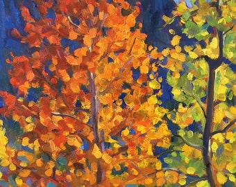 Colorful Aspen Original Oil Painting Wall Art