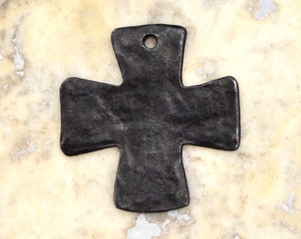Antiqued Cross, Black Cross, Cross Pendant, Artisan Cross, Religious Cross, Cross Charm, Weathered, Christian Jewelry, Casting