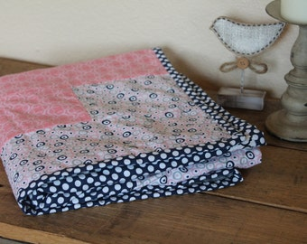Minky Baby Blanket - Baby Gift - Pink, Grey, Navy Blue - Polka Dots, Baby Quilt