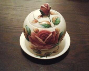Beautiful vintage hand painted Regal Rose ESD Japan made preserve pot