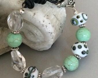 Lampwork Beaded Bracelet, Green Magnesite Bracelet, Quartz Nugget Bracelet