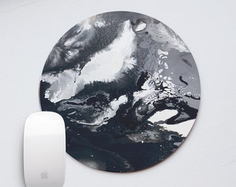 Black Marble Mousepad Marble Mouse Pad Marble  Mouse Mat White Mousemat Office Desk Accessories Round Mouse Pad Round Mousepad PP5044