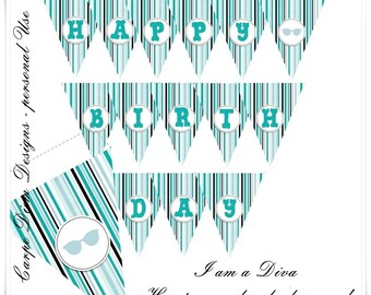 Diva in Blue Party Printables