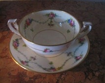 Minton China Vintage Floral Cream Soup Bowl With Underplate! #BV