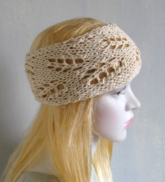 Hippie Headband Knitting Pattern : Womens Girls Headband Knit Lace Boho Spring Summer Headband