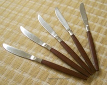 Vintage Ekco Eterna Stainless Mid-Century Danish Modern wood handled Canoe Muffin set of 5 knives, made in Japan