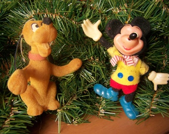 Vintage Christmas Ornaments - Disney Mickey Mouse and Pluto - set of 2 - Circa 1950s
