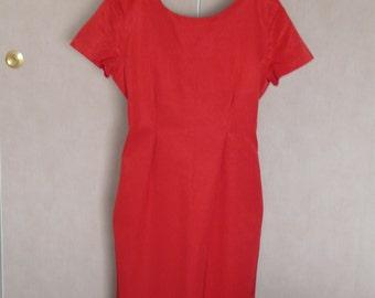 vintage red-sleeved dress short t.44/46