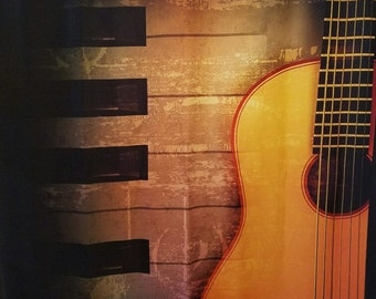 Musical Instruments, Piano, Guitar, Shower Curtain, FREE SHIPPING