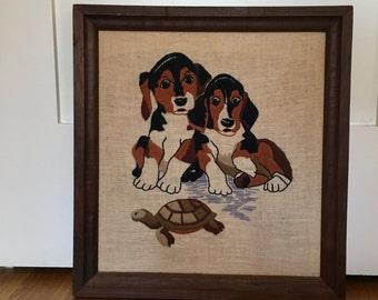Vintage Framed Dog Embroidery