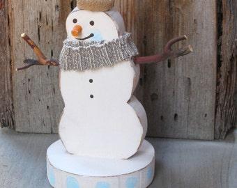 Wood Snowman, Holiday Decor, Holdiay Decoration, Wood Snowman Decor, Woodland Snowman, Snowman Statue, Christmas Decor, Shelf Sitter, Rustic