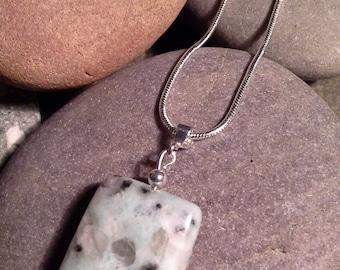 "Sesame Kiwi jasper pendant on a Sterling Silver snake chain necklace 16"""