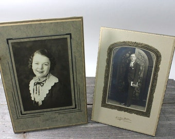 Pair of vintage Black & White portraits, man and woman, vintage photos, 1920s or 1930s