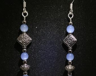 Blue metallic earrings