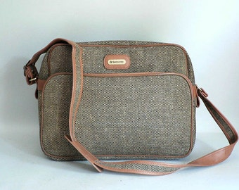 Vintage  Samsonite Tweed Overnight Messengerl Bag