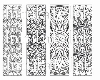 4 Flower Colouring Bookmarks Instant Download Printable