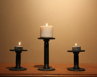 Cast Iron Candle Holders - Set of 3 - Urban Industrial Style Decore - Three Candle Stick Holders