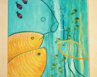 "Acrylic painting - fish - ""Conversation"""
