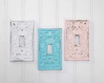 Single Light Switch Cover/ Nursery Wall Light Switch Decor/ Light Switch Plate/ Decorative Light Switch  Cover/  Shabby Chic Decor