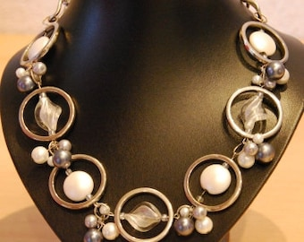 special necklace in grey-white shades