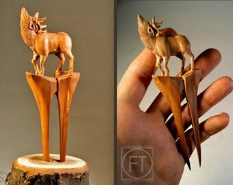 Wood Hair Stick - Hairfork Deer Sculpture Hairpin Hairstick Wood Sculpture Barrette  Hair Accessories Wooden hair fork