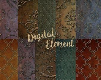 Digital Paper, Digital Scrapbook Paper, Background Texture Paper, Digital Background Photo Textures, Gold Texture Paper. No. P133