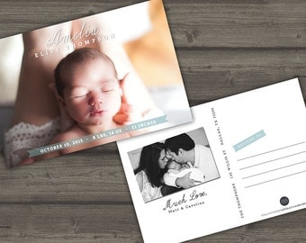 BIRTH ANNOUNCEMENT POSTCARD | 4x6 Printable or Printed Cards