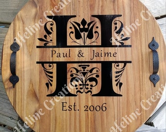 Personalized Monogram  Wood Sign Established Date Stained Wedding Anniversary Gift