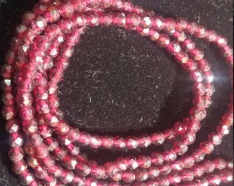 """4mm Garnet Round faceted beads, length of strand 14"""" top quality beads"""