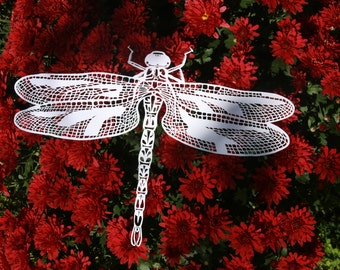 paper cut dragonfly,handmade paper cut dragonfly, insect wall art, papercut wall art, dragonfly home decor, valentines gift, unique art work