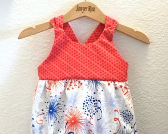 Stars and Stripes Fireworks Big Bow Tie Bubble Romper