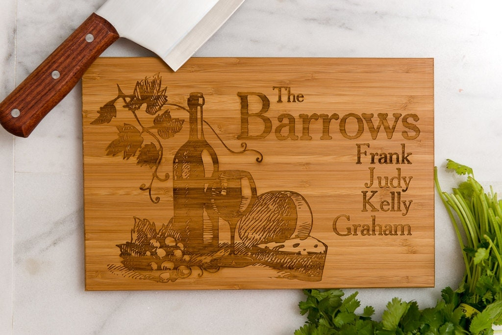 Personalized Cutting Board Wine Grapes Anniversary