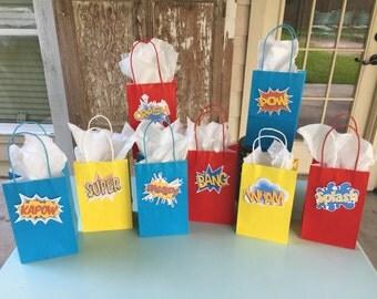 Super Hero Party Bags, Super Hero Goody Bags, Super Hero Word Bubbles, Super Hero Birthday, Super Hero Party, Super Hero Favors, Set of 8