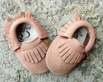 Baby Suede Butterscotch Tan Leather Moccasins baby moccasins baby shoes tan suede moccasins baby booties