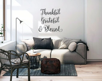 THANKFUL GRATEFUL BLESSED Vinyl Wall Quotes Quote Decal Letters Religious