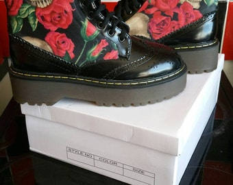 Skull and Roses Goth Dr Marten Style Boots Rockabilly Punk Combat Boots Custom Made funky black darkness