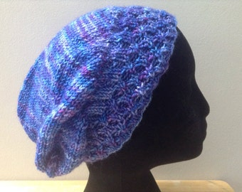 Free shipping slouchy blue hat unisex child size wool and nylon washable easy care hand knit