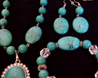 Blue turquoise necklace earring & bracelet set
