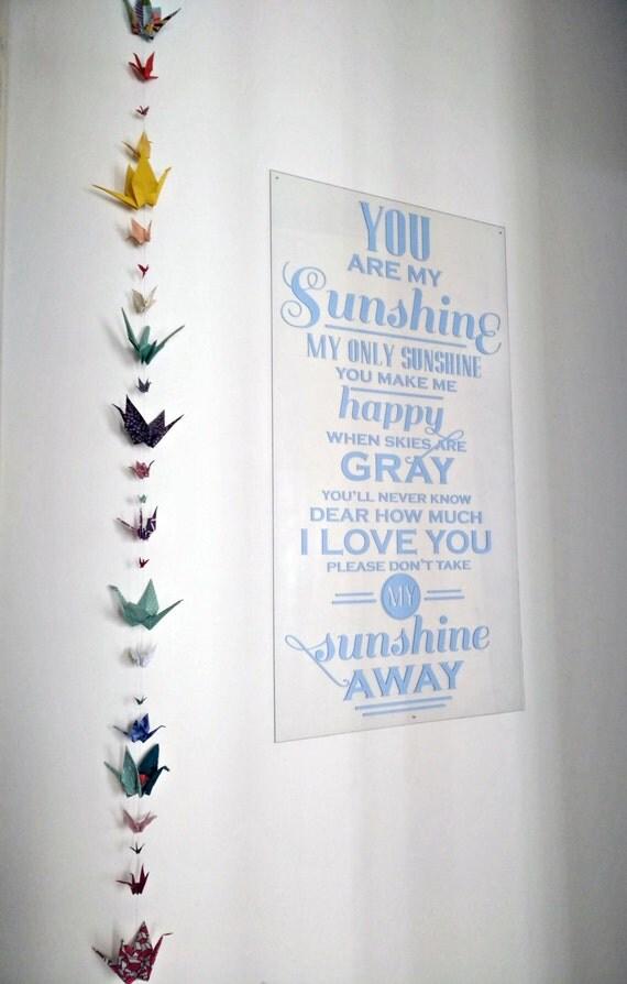guirlande origami grues fait main id e cadeau naissance no l. Black Bedroom Furniture Sets. Home Design Ideas