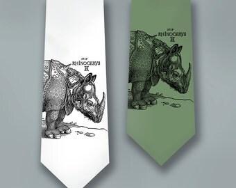 Rhino Art - Albrecht Durer - Rhinoceros Tie - Men's Gift - Necktie - Animal Art