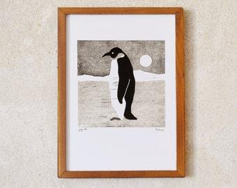 penguin · original linocut · Limited Edition · DIN A5