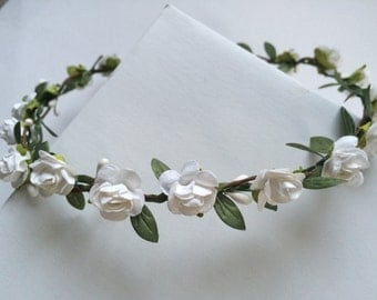 Rose crown, toddler headband , flower girl crown, flower girl tiara, white or purple rose tiara