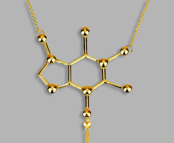 18k gold plated caffeine molecule necklace by