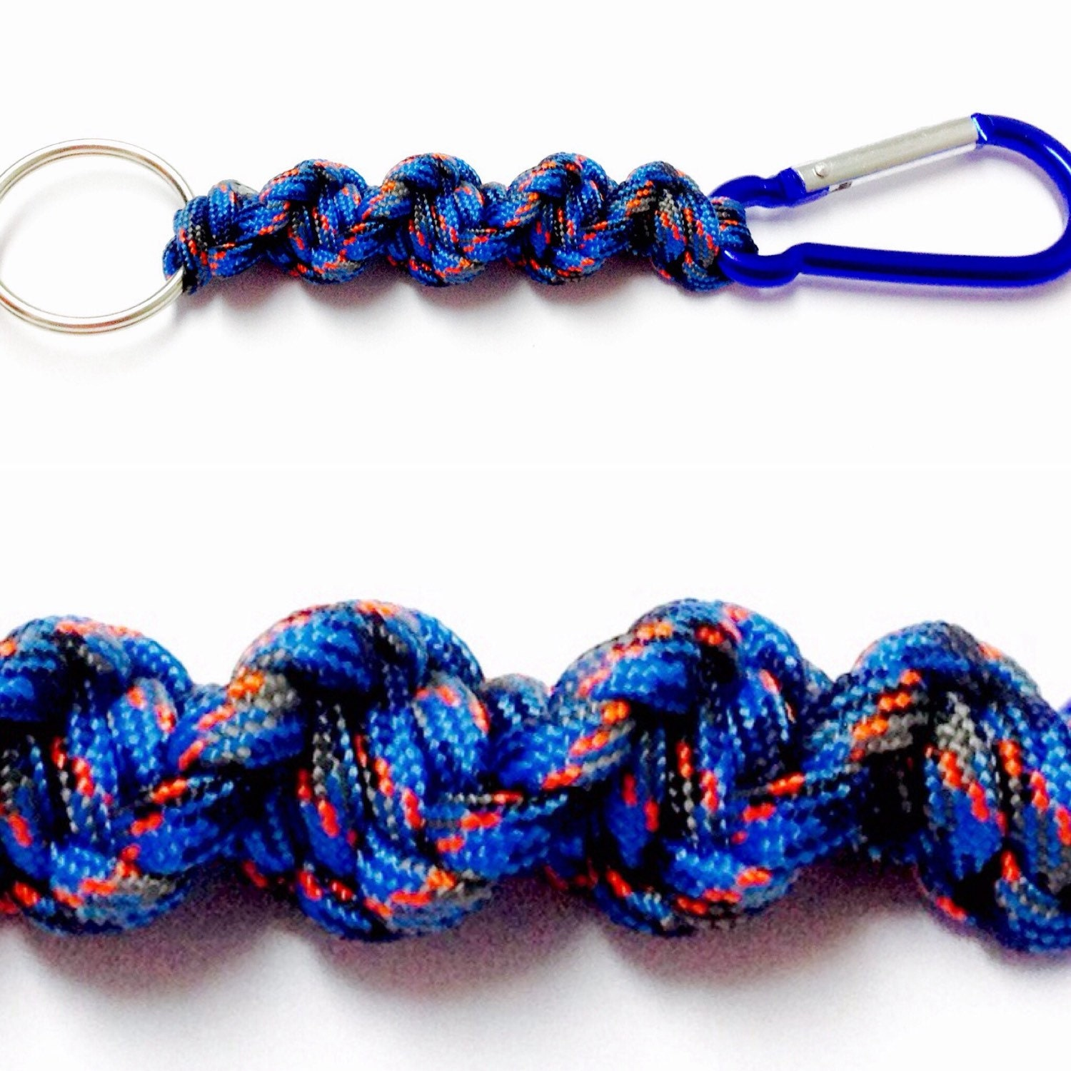 Blue camo keychain paracord keychain carabiner keychain for How to make a keychain out of paracord