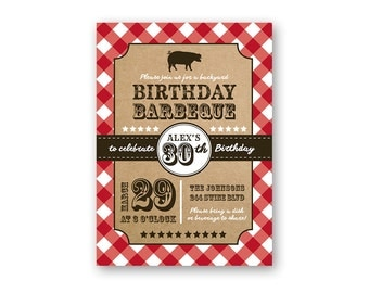 Birthday Barbeque - Country Theme Birthday Invitation - Country Birthday Invitation - BBQ - Cookout - Backyard BBQ