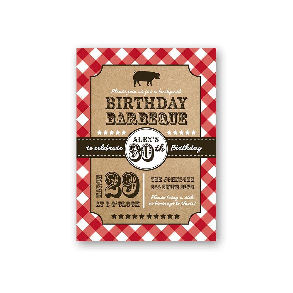 Birthday Barbeque Country Theme Birthday Invitation