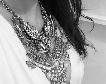 Statement Silver Necklace with Crystals and Pearls- KEIKE